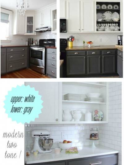 upper white lower gray kitchen cabinet paint