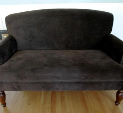 velvet settee before