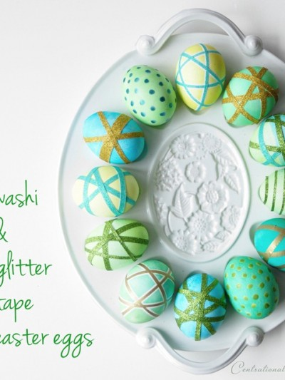 washi and glitter tape easter eggs