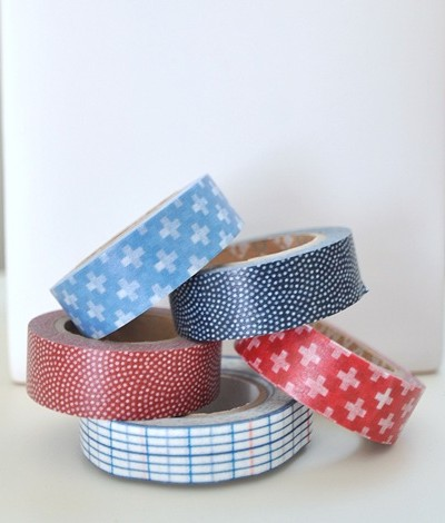washi tape red and blue