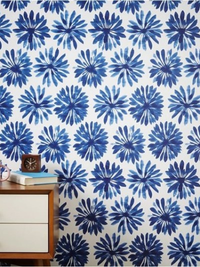 west elm blue floral