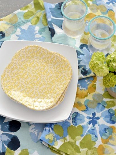 yellow melamine blue and yellow watercolor floral