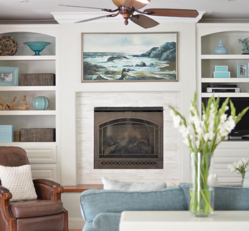 coastal family room fireplace