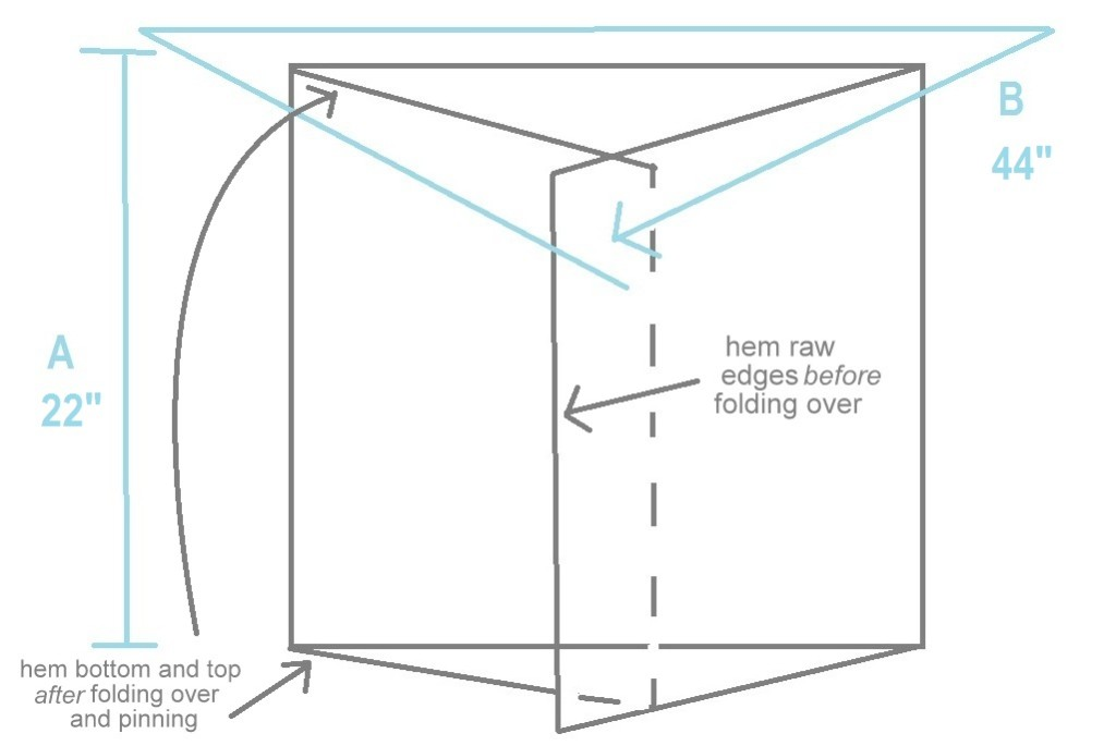 easy envelope pillow covers diagram