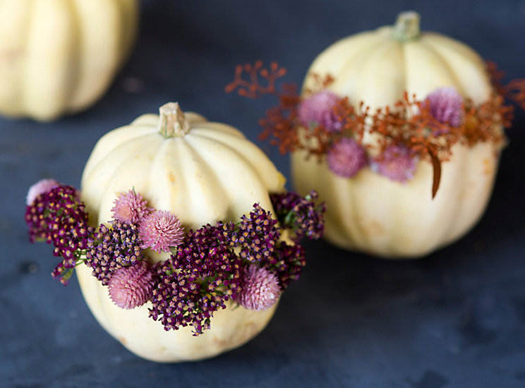 floral wreath pumpkins