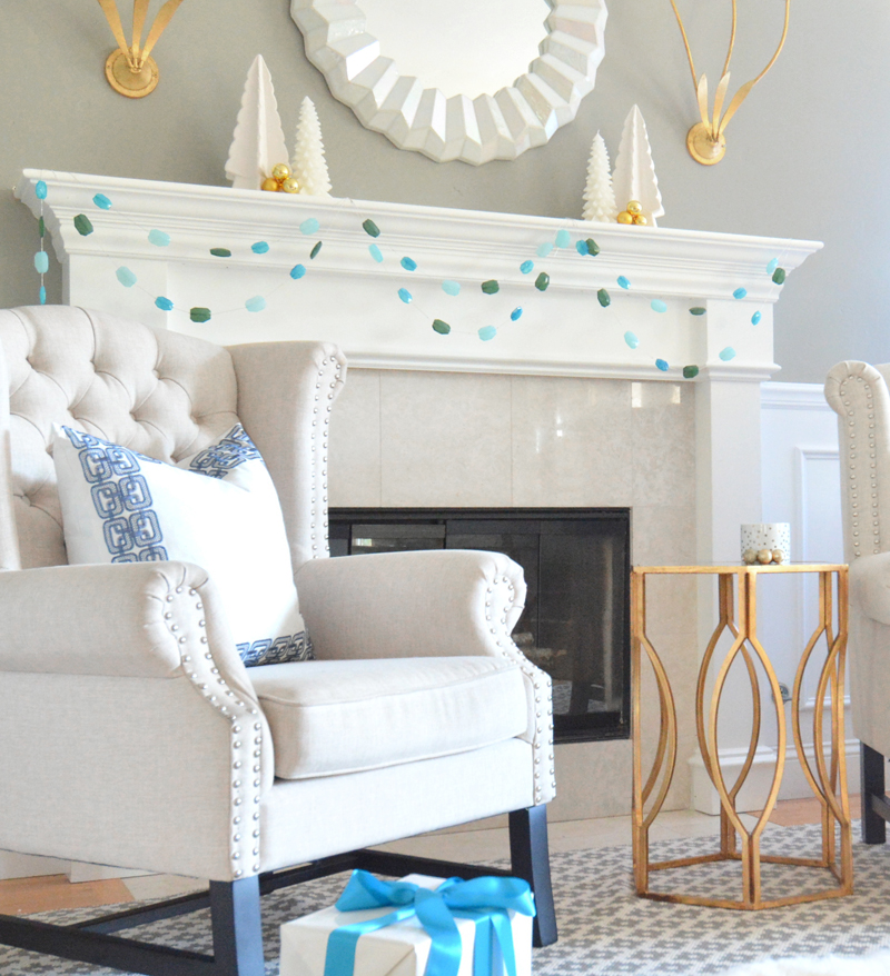 gemstone garland strung on mantel