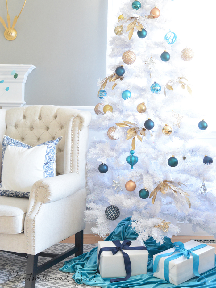 linen chair white christmas tree
