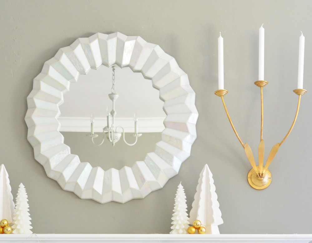 white mirror gold leaf sconce