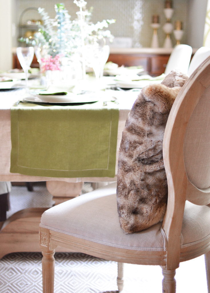 fur pillow on chair