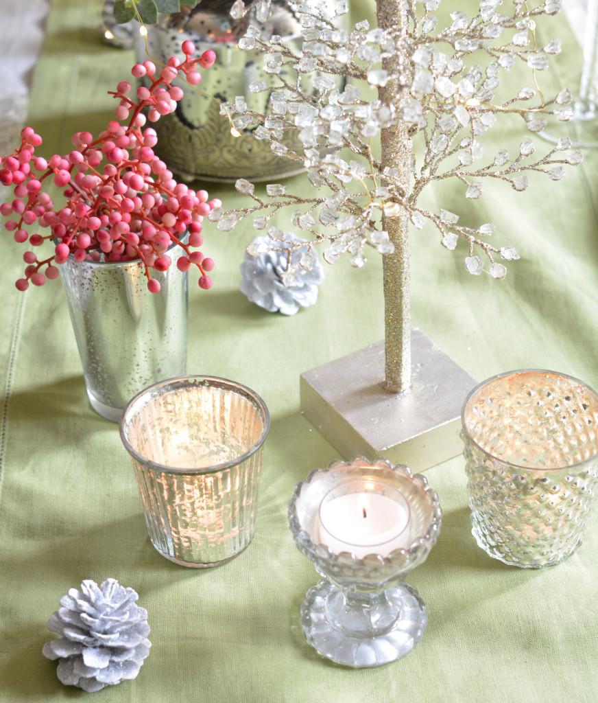 mercury glass candleholders
