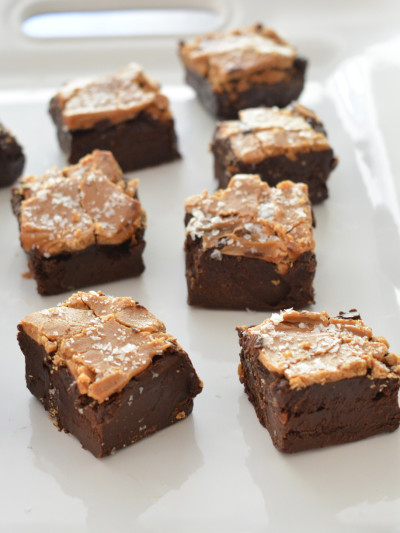 squares of sea salt caramel fudge