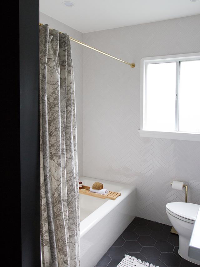 black and white bathroom reno