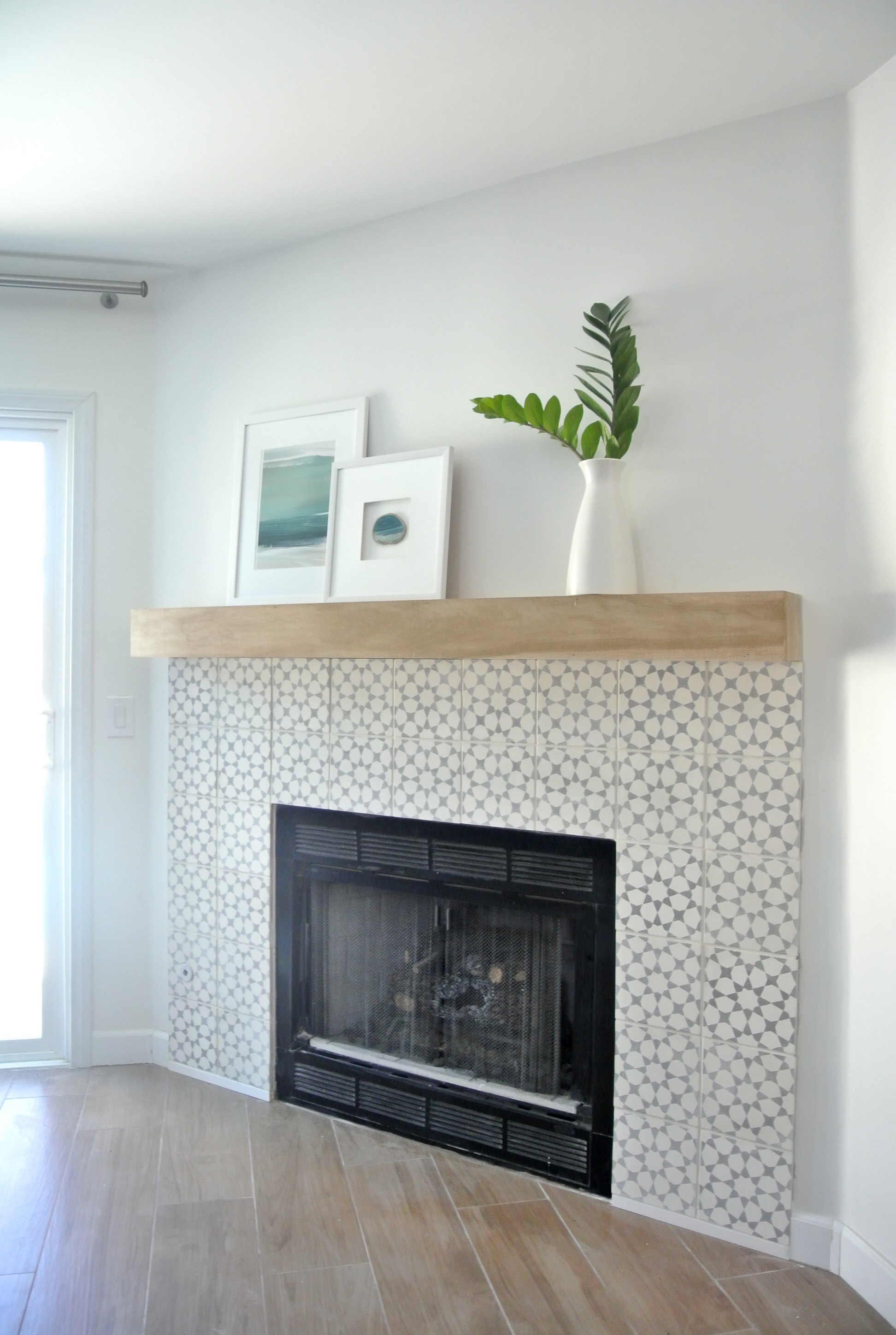 Diy fireplace makeover centsational style for Building a corner fireplace