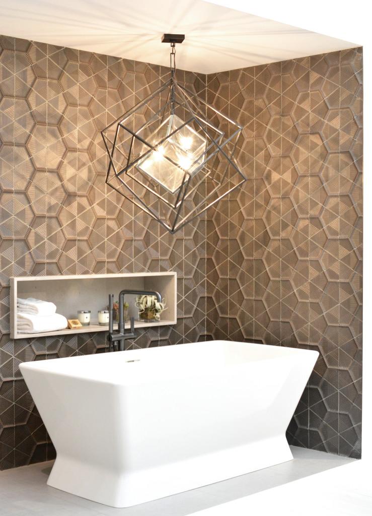 geometric graphic backsplash tile
