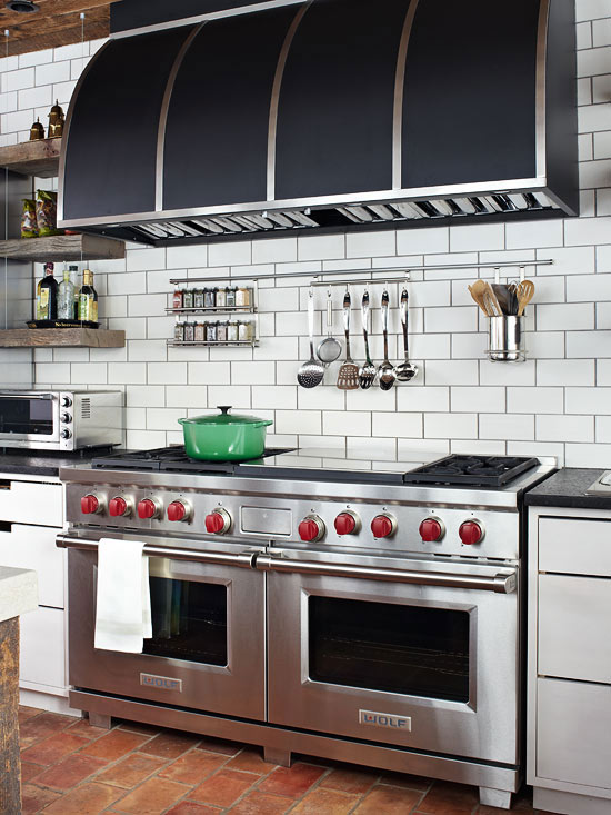 Offset White Subway Tile Backsplash