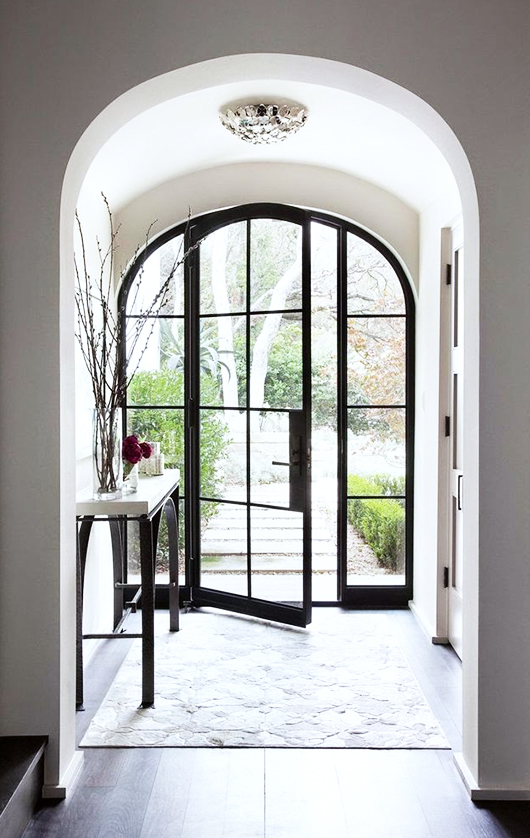 steel glass arched doors