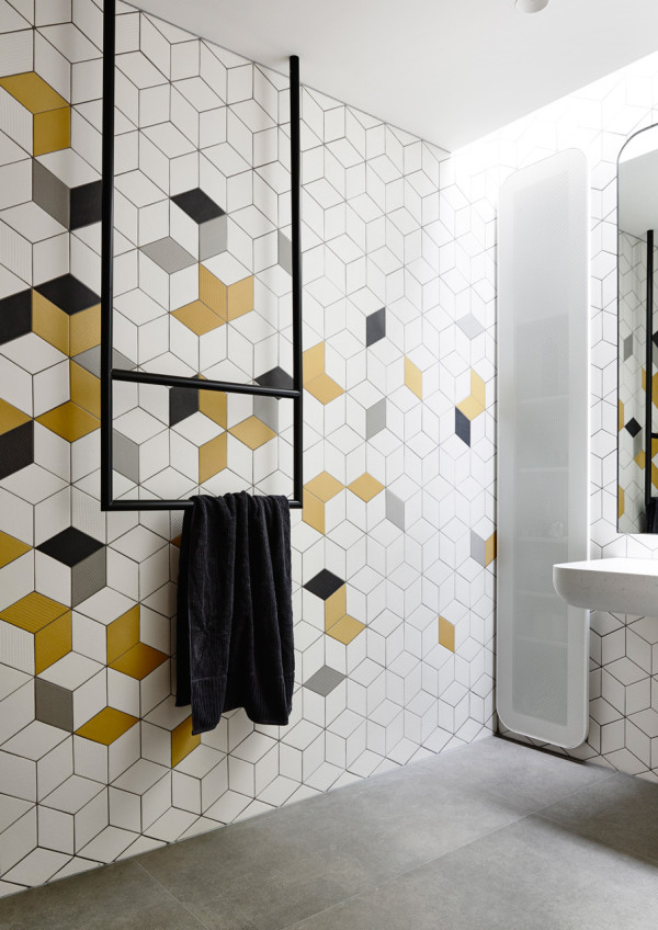abstract geometric tile installation