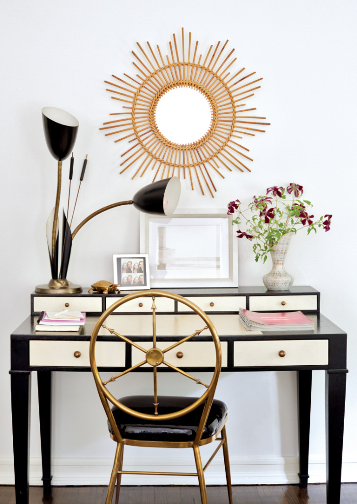 black and white desk gold chair