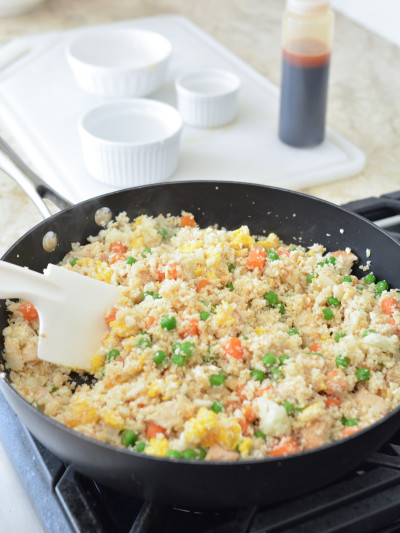 cauliflower fried rice in pan