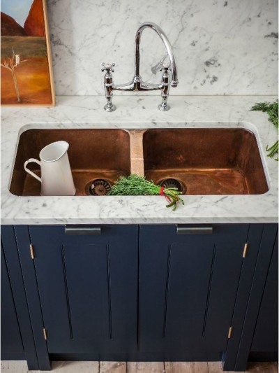 copper double basin sink