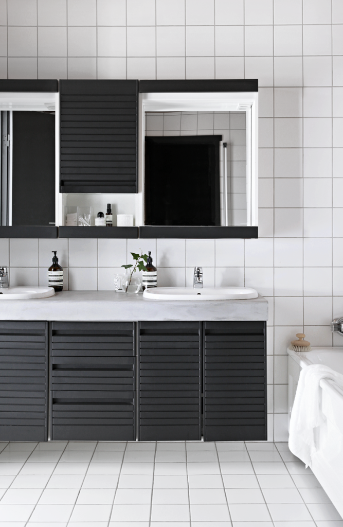 black and white bathroom upgrade