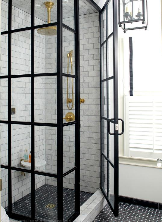 black divided shower doors