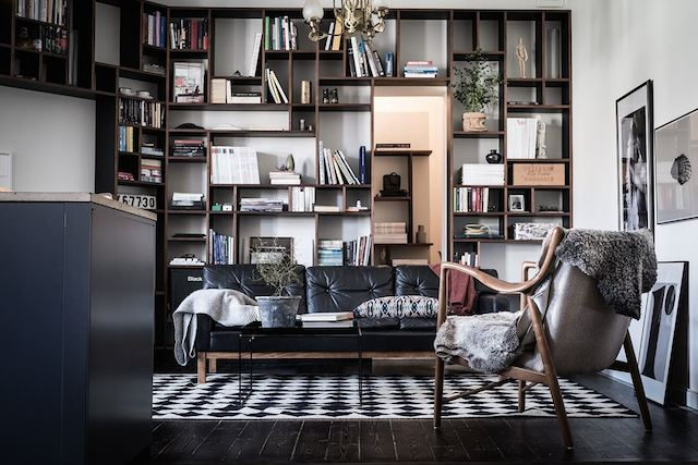 black shelving leather chair