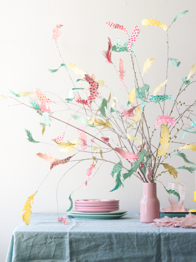 diy paper feather tree