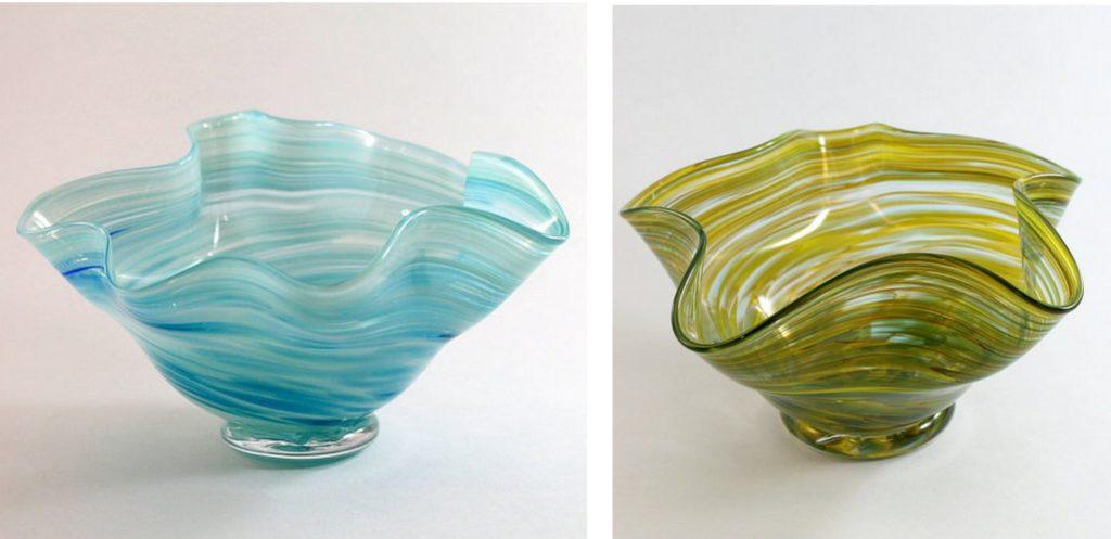 flutter handblown glass bowls
