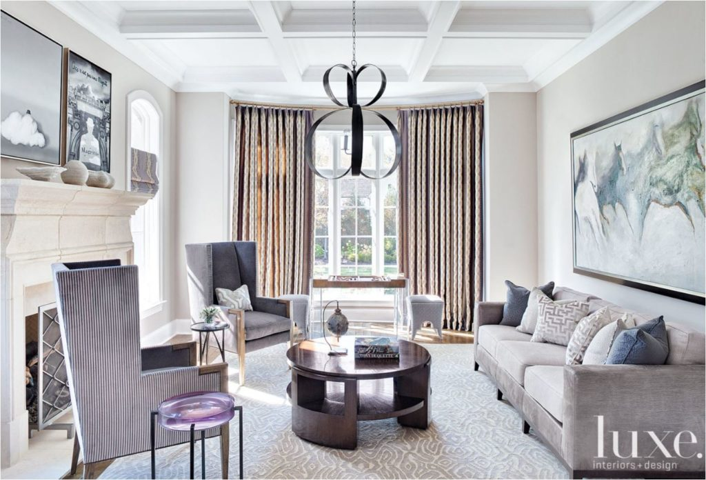 gray and plum living room