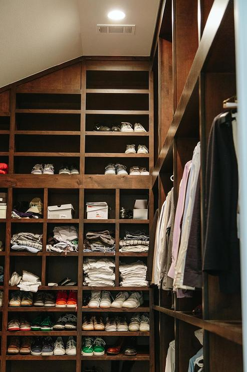 masculine closet wood shelves