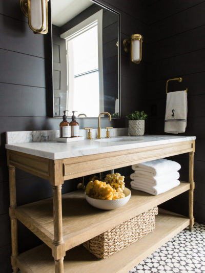 black white wood bathroom