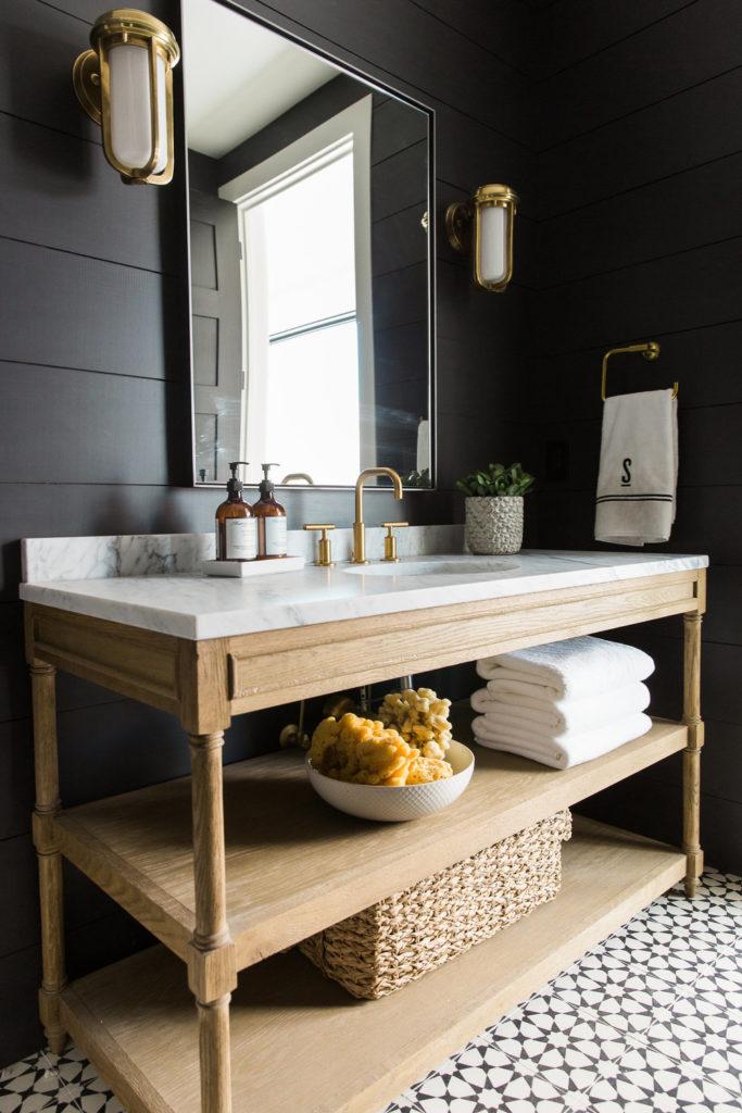 black white wood bathroom