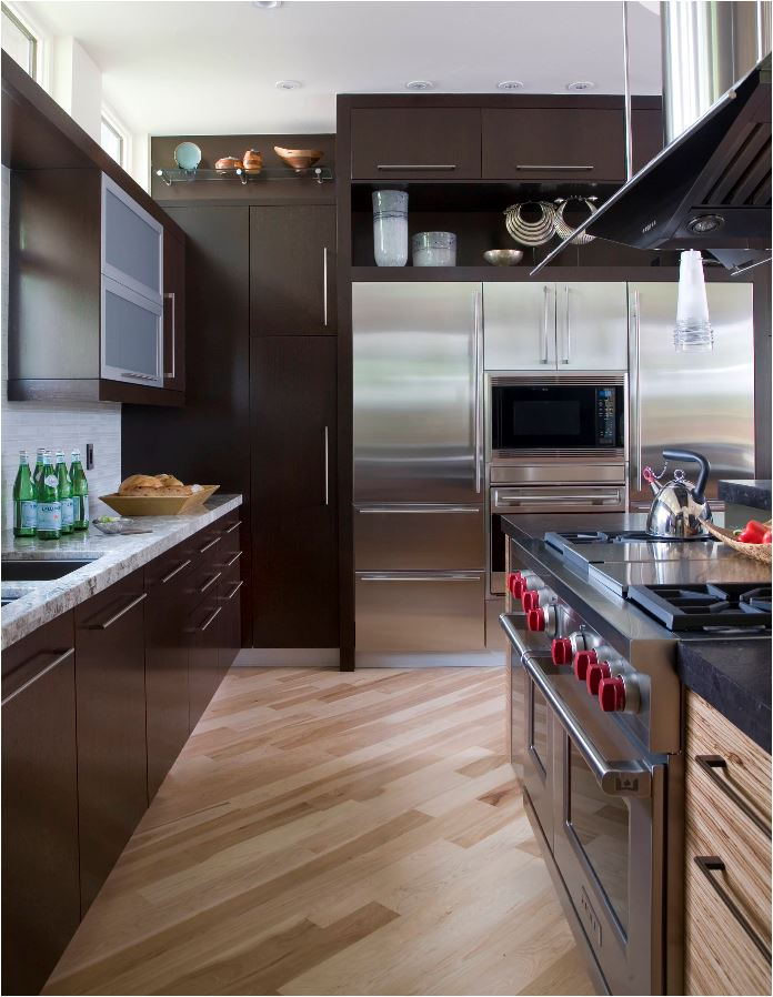 diagonal wood floor kitchen