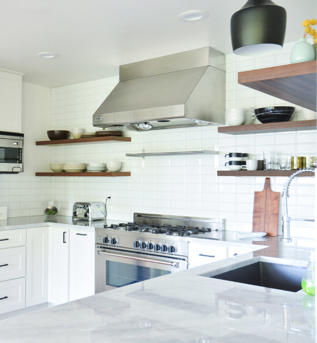 white kitchen remodel tile backsplash
