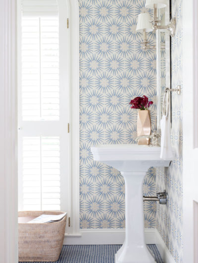 blue penny tile floor hex floral wallpaper