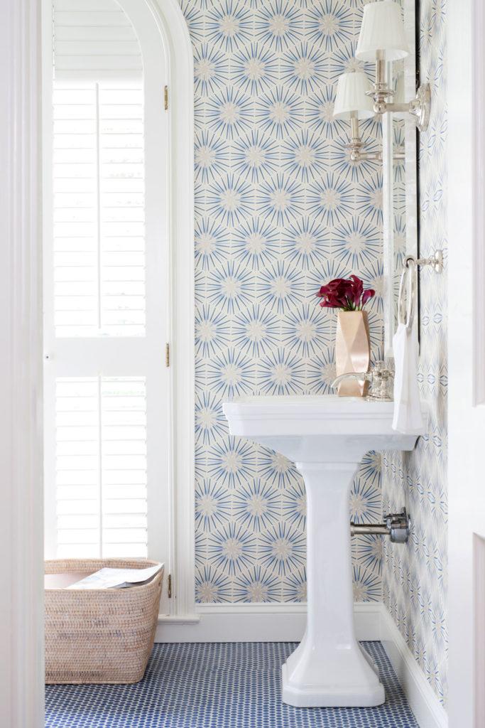 blue penny tile floor hex floral wallpaper