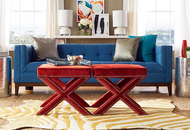 blue sofa red x ottoman