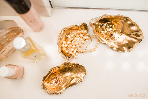 gold oyster shell trinket trays