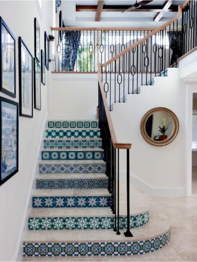 patterned tile staircase