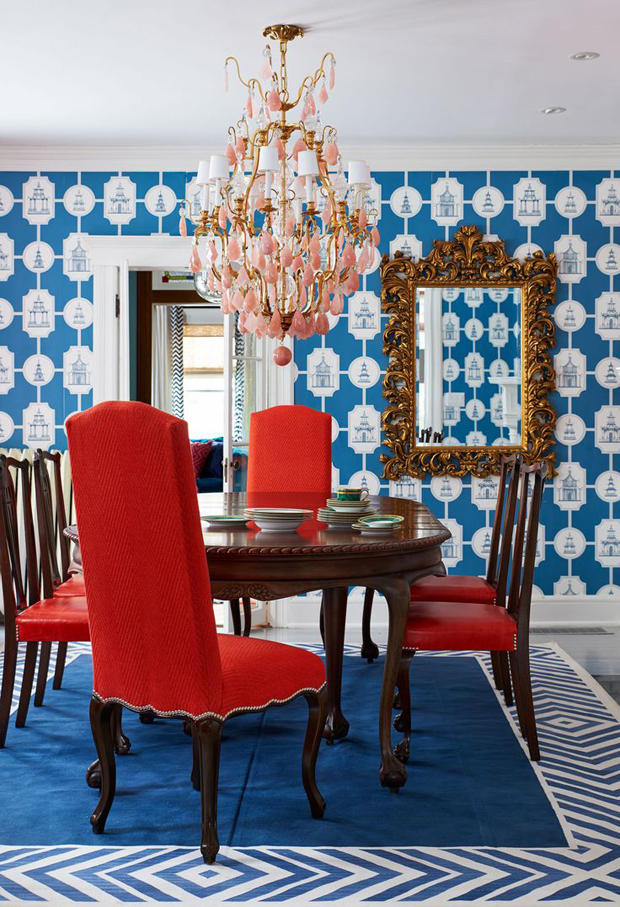 red chairs blue wallpaper