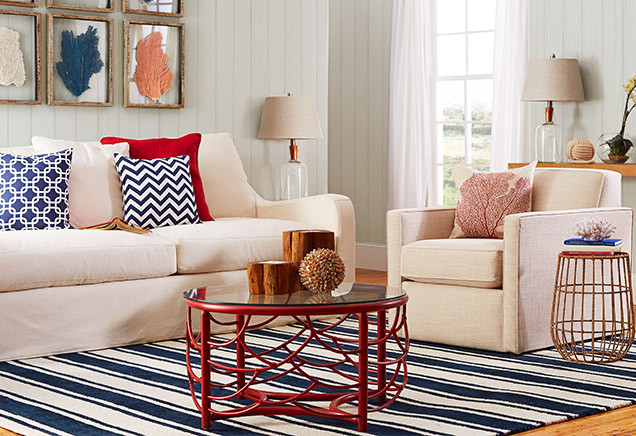 red coffee table blue pillows