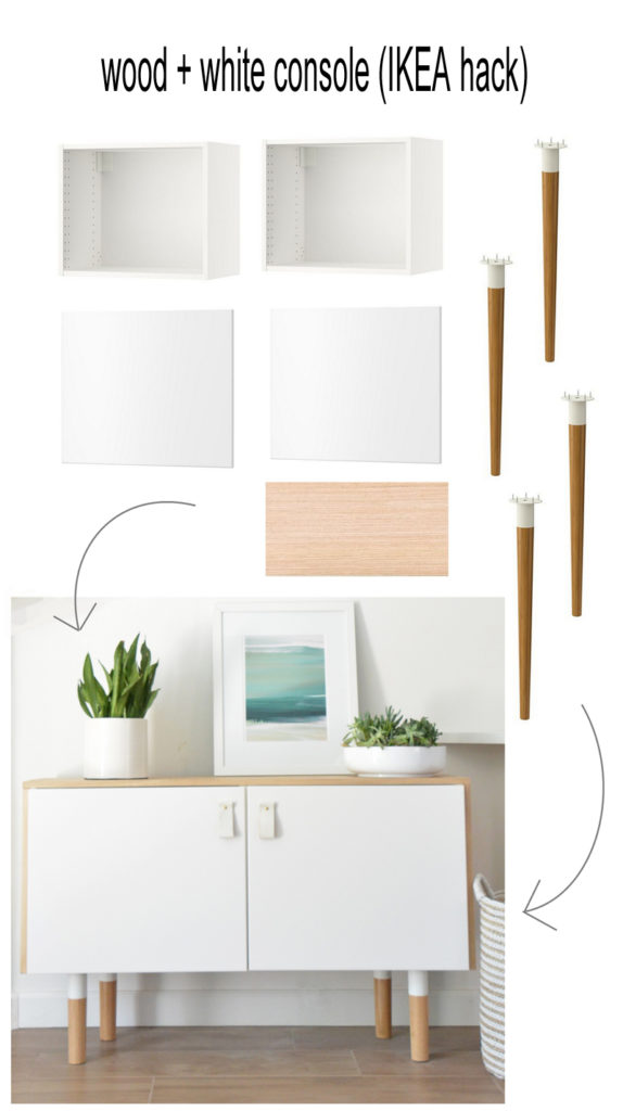 wood and white console ikea hack