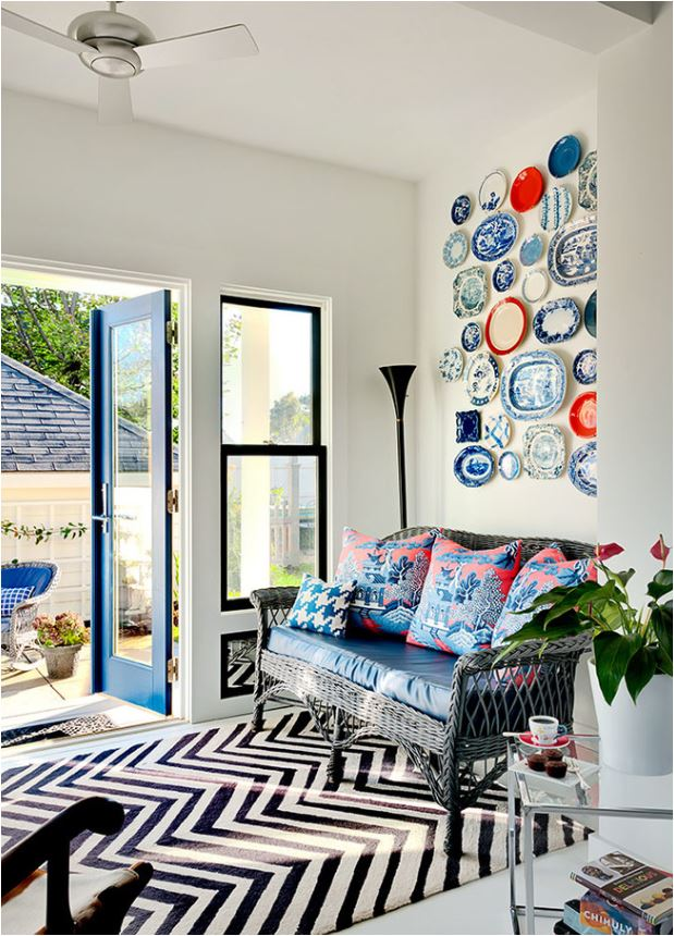 blue white red plate wall