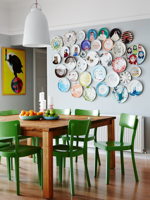 eclectic plate wall