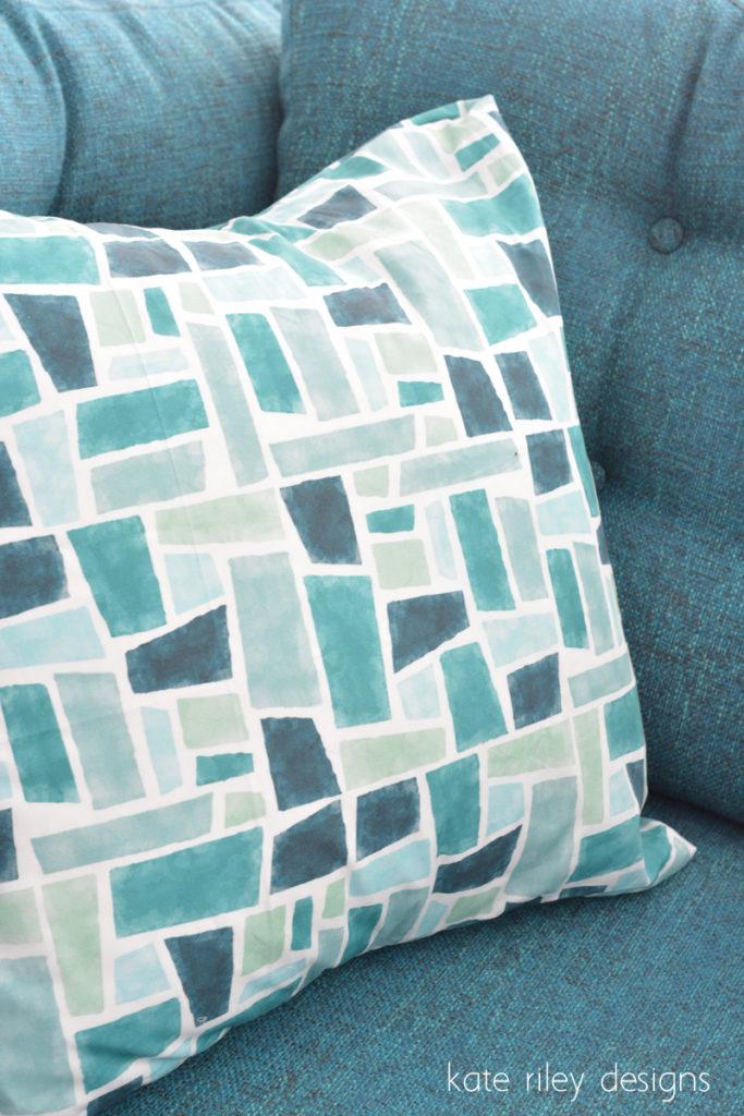 glassy blue pillow
