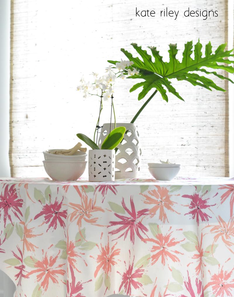 pink hibiscus fabric