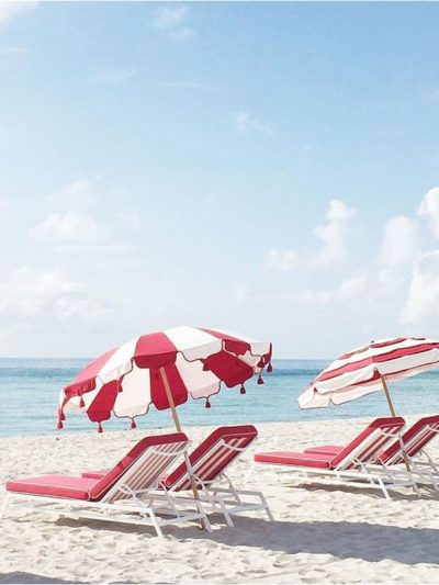 red and white beach umbrella