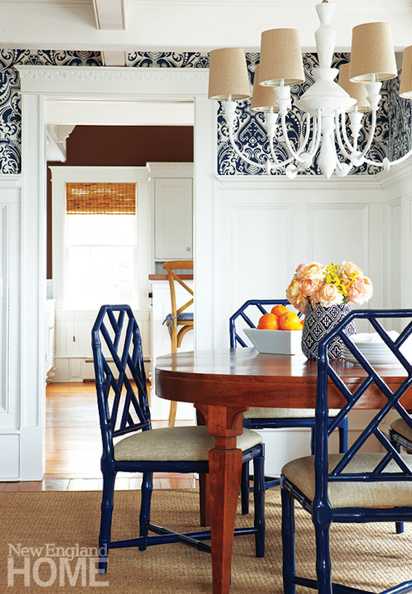 blue chippendale chair