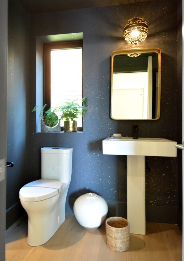 dark wallpaper in powder room